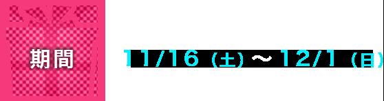 期間:11/16(土)~12/1(日)